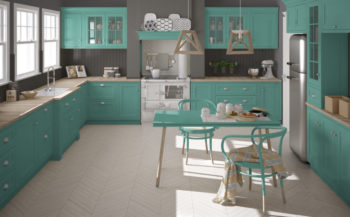 Scandinavian classic kitchen with wooden and turquoise details,